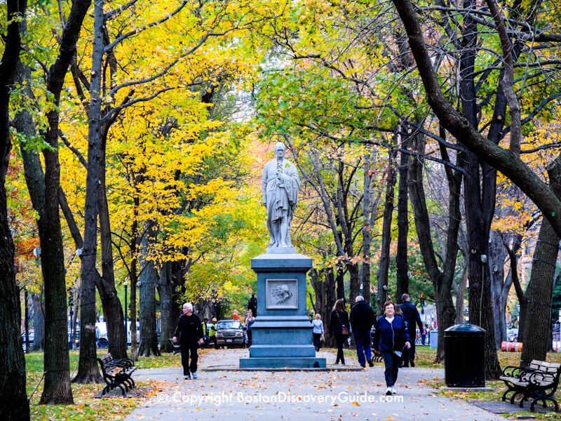 Commonwealth Avenue Mall in Boston's Back Bay neighborhood in November