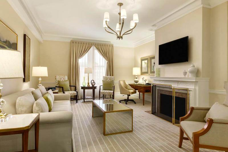 Copley Plaza suite - Living room with a fireplace