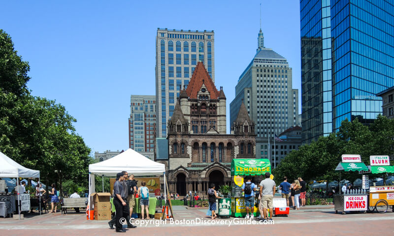 Copley Square Weekly Farmer's Market - Trinity Church in the background and Hancock Tower on the right