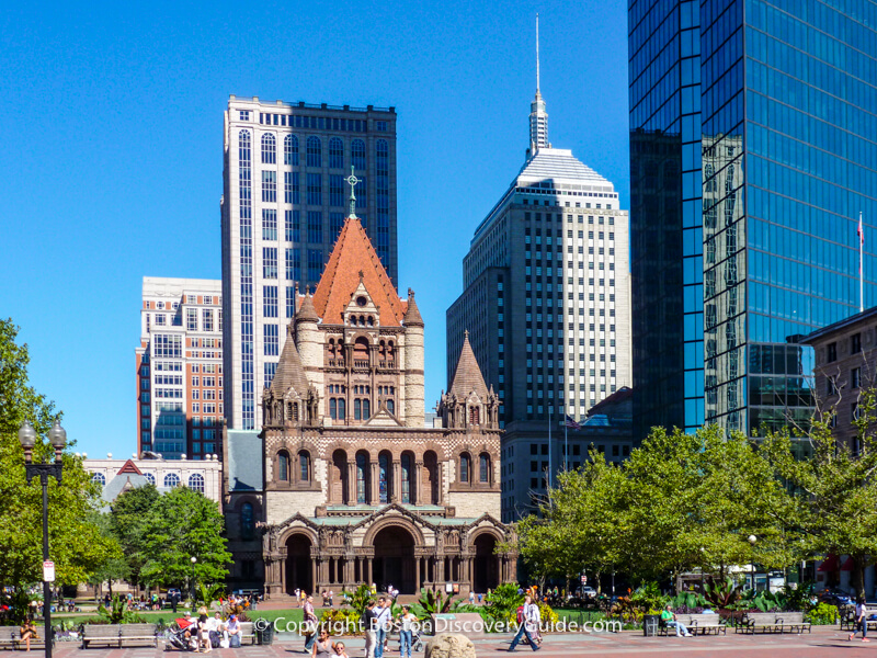 Copley Square with Trinity Church and the John Hancock Tower in Boston's Back Bay neighborhood