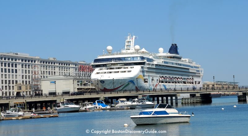 Norwegian Dawn cruise ship at dock outside of Boston's Black Falcon Cruise Terminal