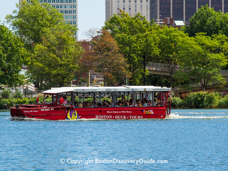 This Duck Tour is driving past stately Victorian-era brownstones in Boston's Back Bay neighborhood