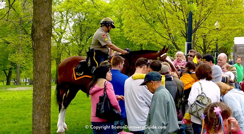 Duckling Day Parade - Park Ranger on horsback and admiring fans