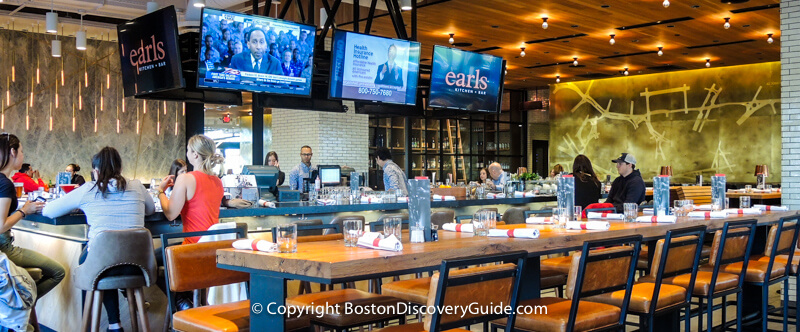 Super Bowl Sunday in Boston - Bar seating at Earl's Kitchen