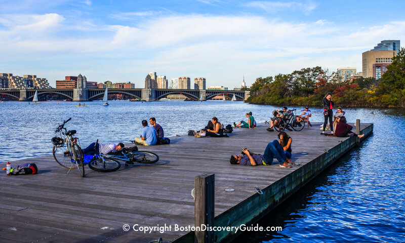 Floating docks are like a beach along the Esplanade and Charles River