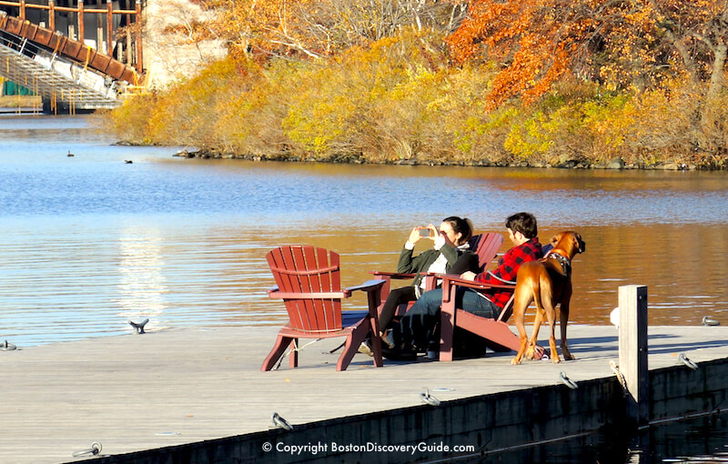 Relaxing on a floating pier over the Charles River - Boston's Esplanade