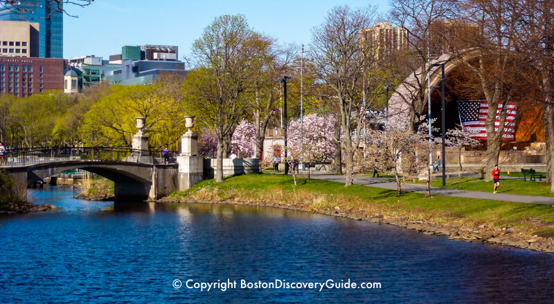 Boston's Esplanade and Hatch Shell in early spring