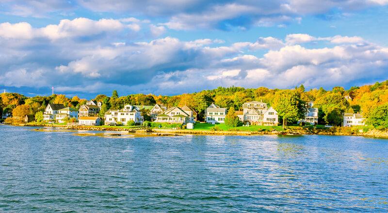 Fall foliage along the Maine coast