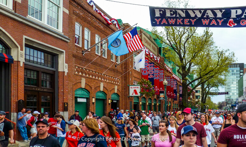 Ipswich Street:  Crowds leaving Fenway Park