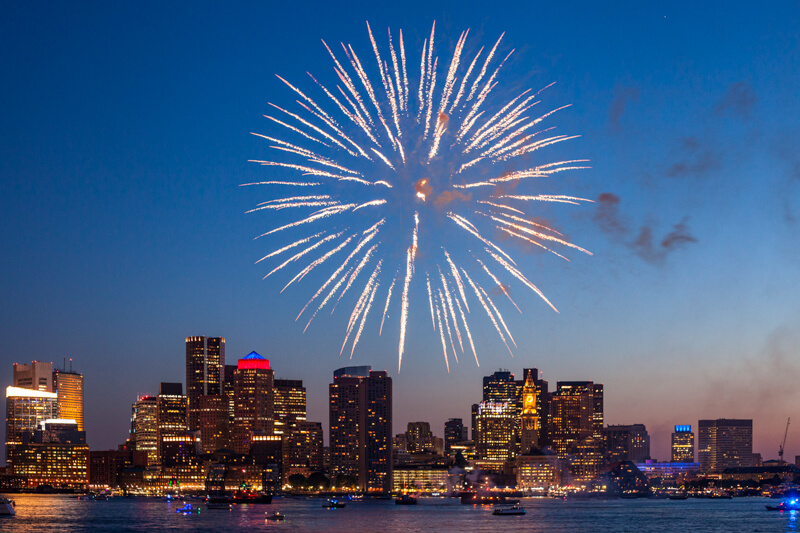 Fireworks over Boston Harbor in New Year's Eve - photo courtesy Michael Landers