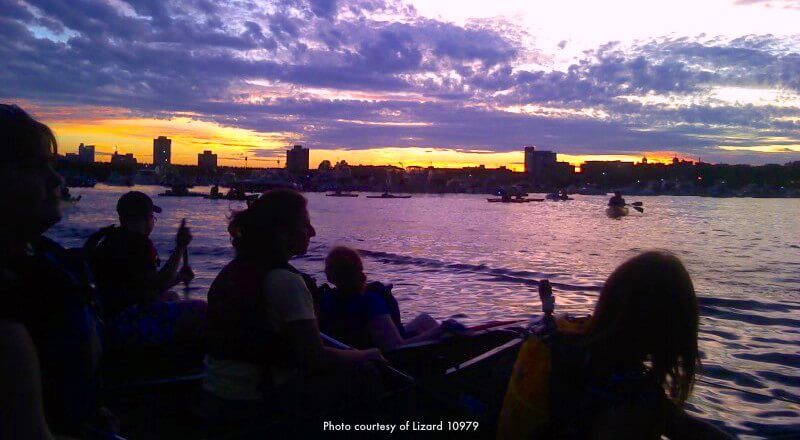 Waiting for fireworks to begin on the Cambridge side of the Charles River