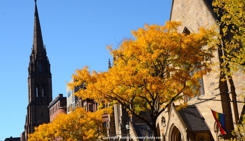 Bright fall colors along Newbury Street in Boston's Back Bay in mid-October