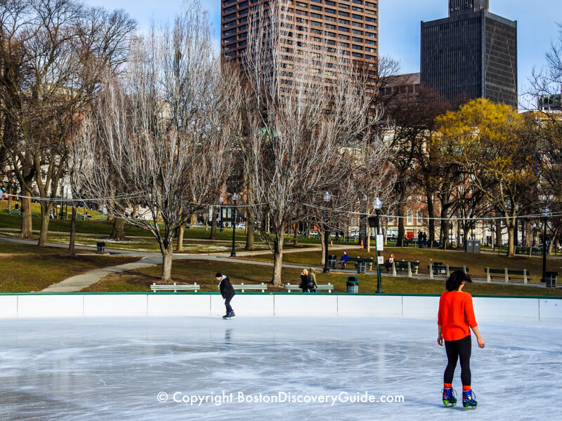 Ice skating at Frog Pond in Boston Common on a January day