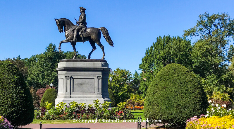 Statue of George Washington, Commander of the Continental Army during the Siege of Boston, in the Public Garden
