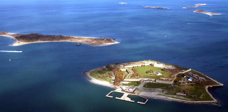 Georges Island in front, Gallops Island to the left, and Brewster Islands