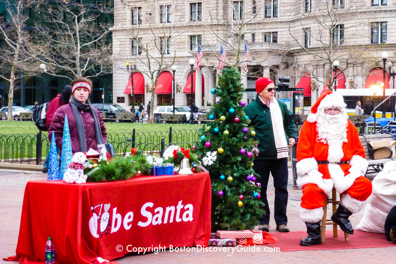 Globe Santa in Back Bay's Copley Square - Boston Christmas spirit in action