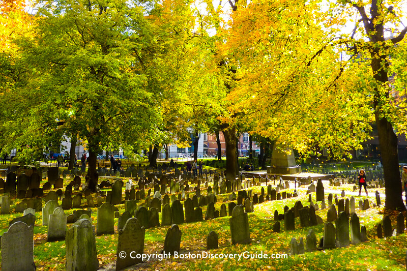 17th century gravestones in Granary Burying Ground on a fall afternoon