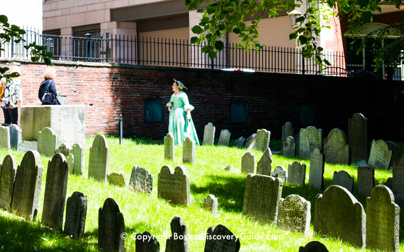 Costumed tour guide in Granary Burying Ground