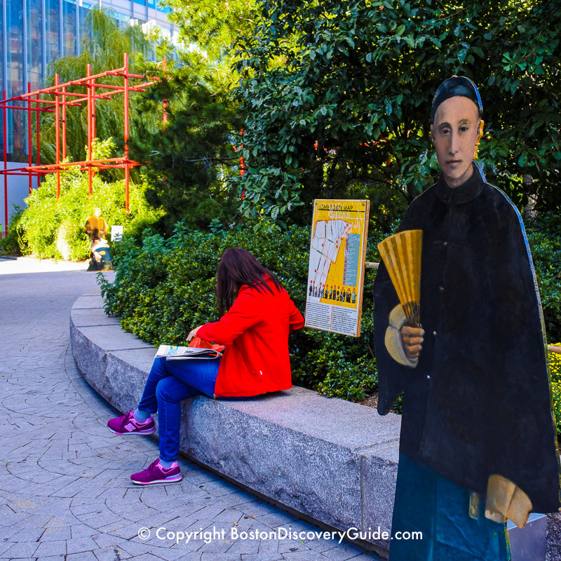 Boston's Greenway attraction:  Art exhibit in the Chinatown Park