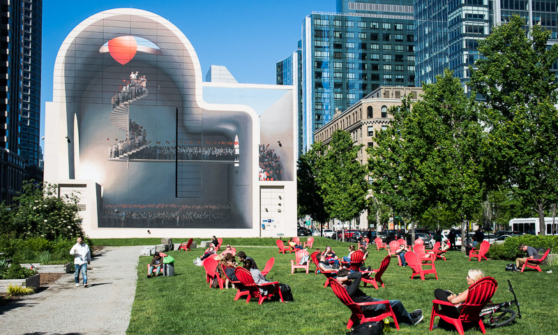 Gigantic mural covering the 76'x 70' Greenway Wall at Dewey Square Park