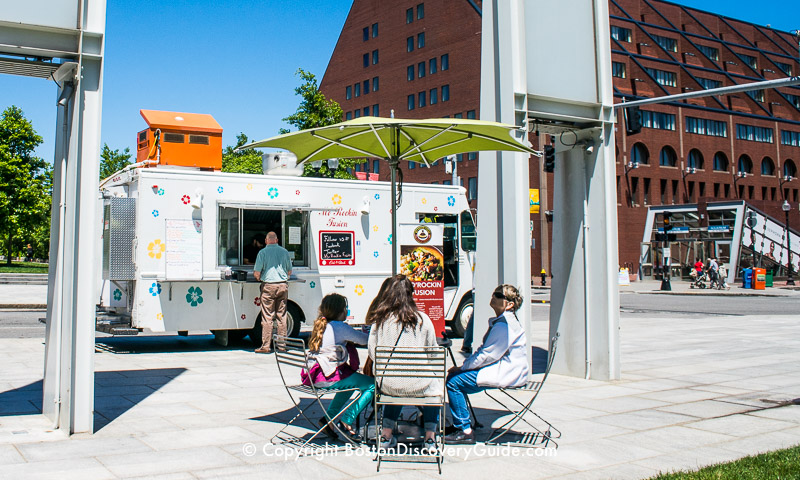 Food truck parked next to the Greenway on State Street