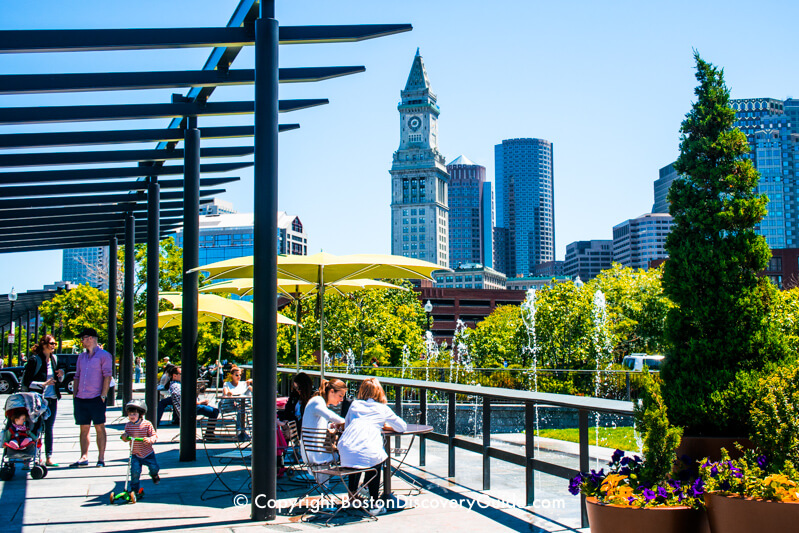 Picnic tables and splash fountains on Boston's Rose Kennedy Greenway