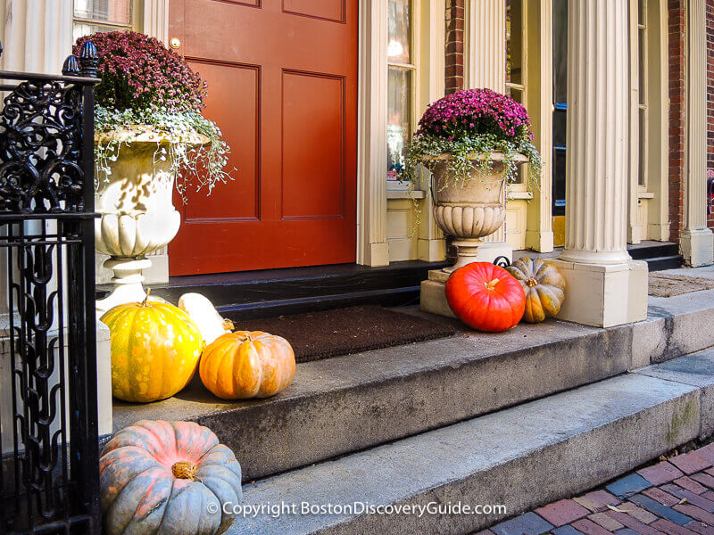 Halloween decorations in Boston's Beacon Hill