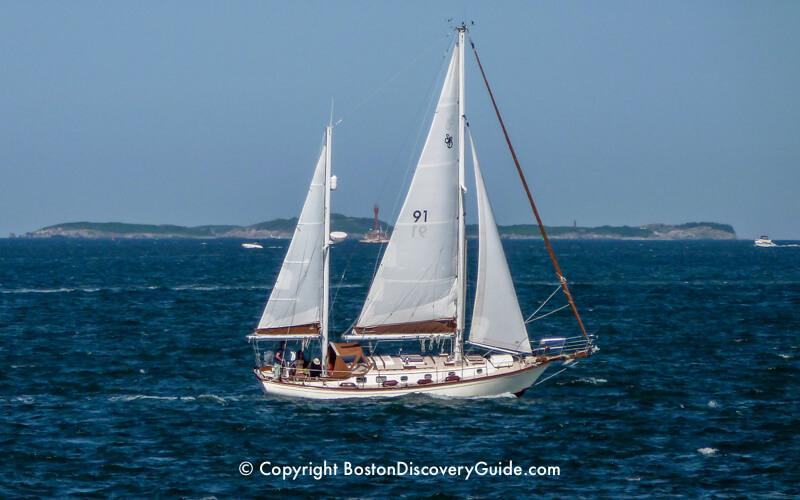 Sailboat and Boston Harbor Islands