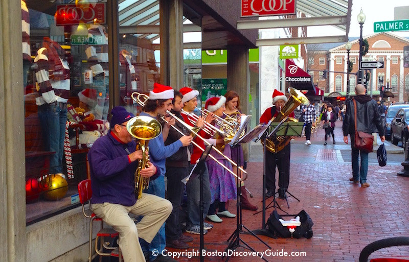 Brass band playing outside of theCoop in Harvard Square