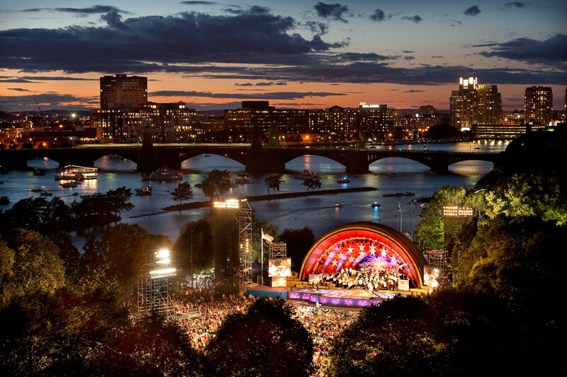 July 4th Boston Pops concert at the Hatch Shell on the Esplanade next to the Charles River