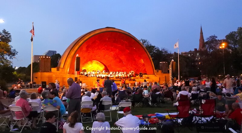 Concert at the Hatch Shell on Boston's Esplanade by the Charles River, on a balmy night in August