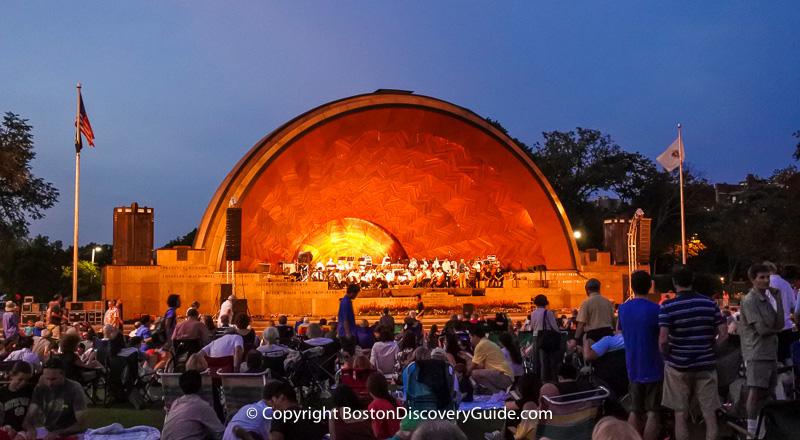 Longwood Symphony Orchestra playing a free concert at the Hatch Shell as part of the Landmark Orchestra concert series in July and August