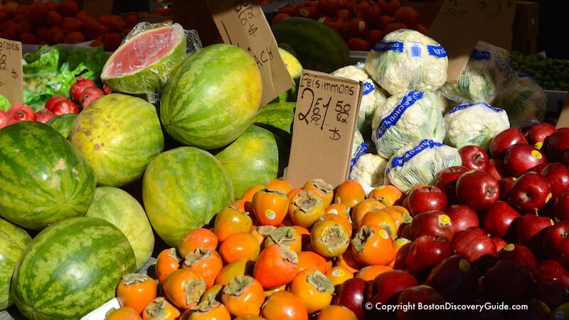 Boston's Haymarket - persimmons, watermelons, cabbage, and apples