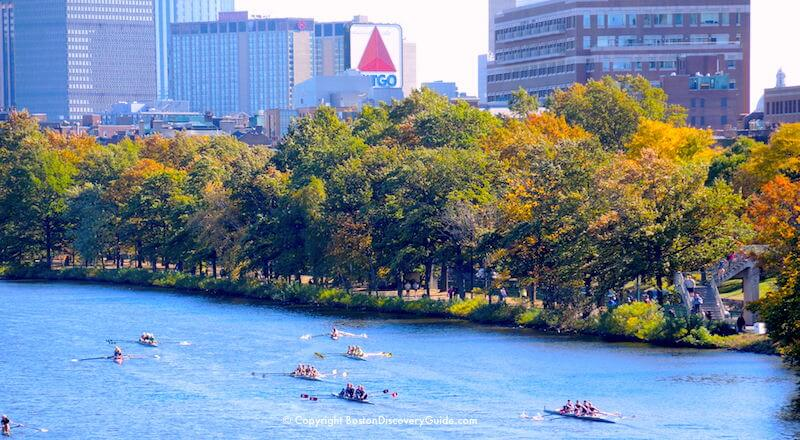Head of the Charles Regatta in the Charles River between Boston and Cambridge