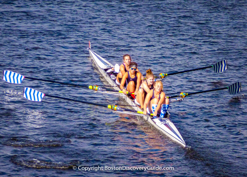 Women's crew team competing in Head of the Charles Regatta