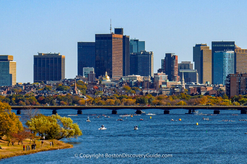 Watching the race - photographed from the Boston University Bridge