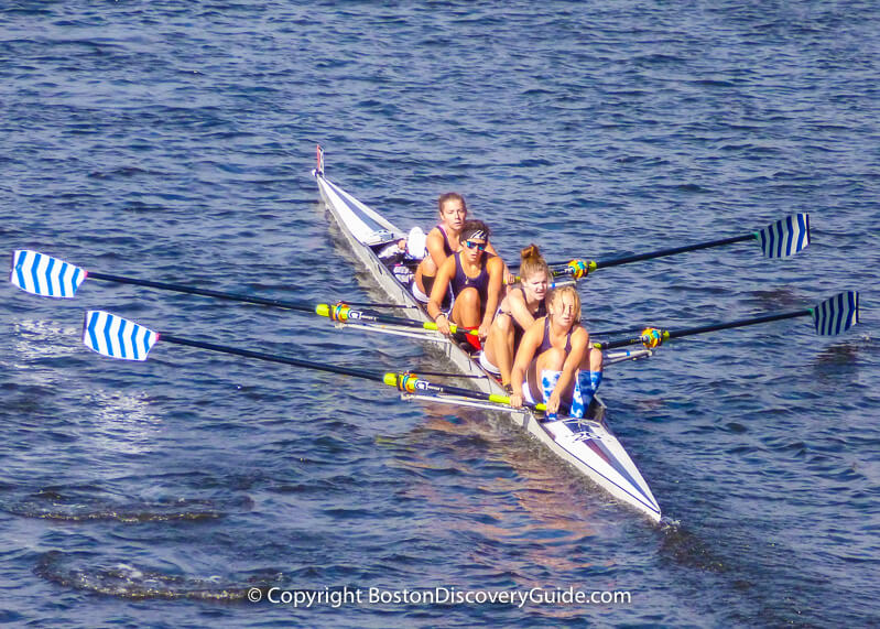 Women's crew team rowing in the Head of the Charles Regatta