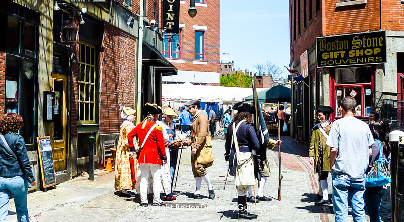 Costumed re-enactors on Marshall Street near The Point in Historic Downtown Boston