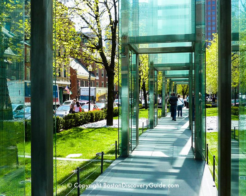 Walking through the New England Holocaust Memorial