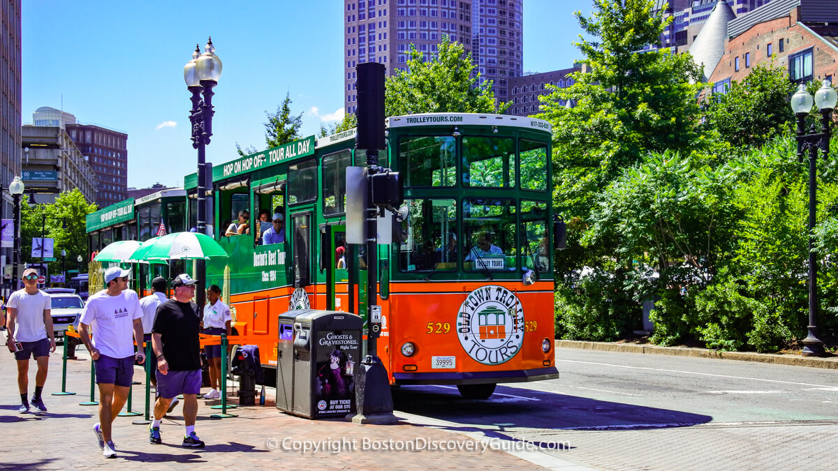 Hop on hop off sightseeing trolley near Boston's Greenway and Faneuil Marketplace