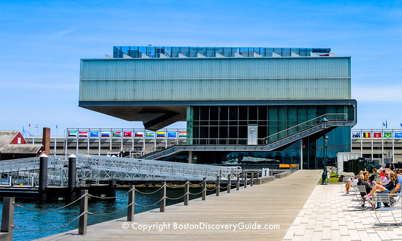 ICA Boston and patio seating next to Harborwalk
