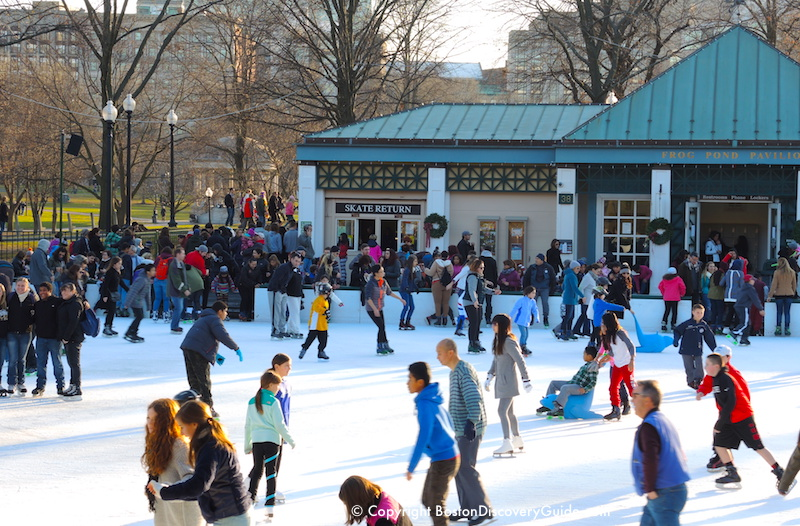 Ice rink on Boston Common - As you can see, a few people are in shirtsleeves, and there is no snow on the ground