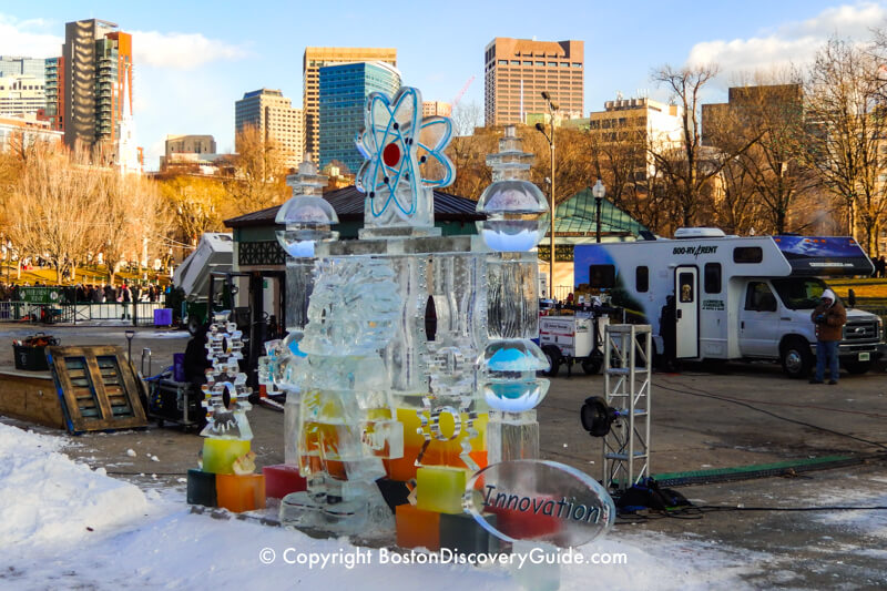 First Night ice sculptures being constructed on Boston Common