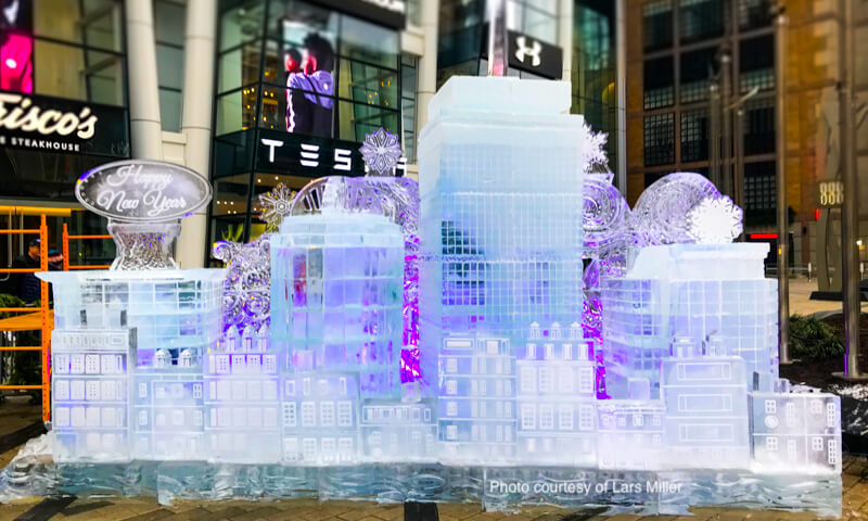 First Night Boston ice sculpture of Copley Square carved by Don Chapell - photo courtesy of Lars Miller