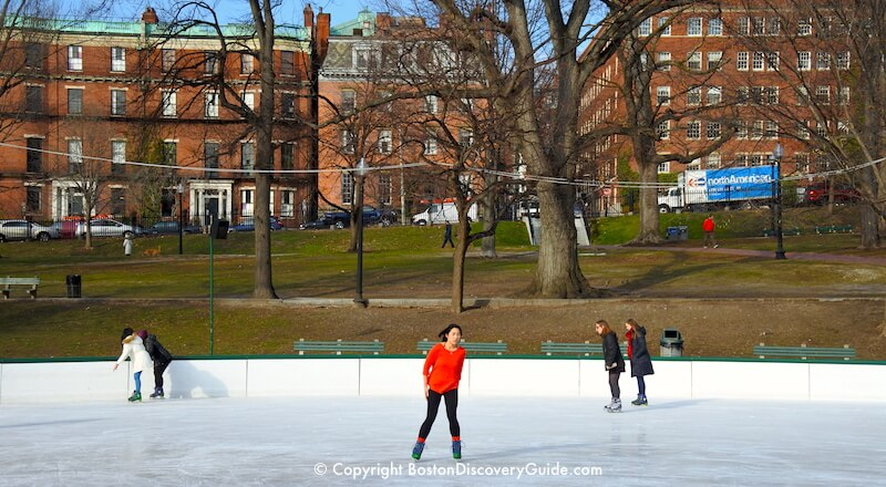Best things to do in Boston in February include ice skating on Frog Pond in Boston Common