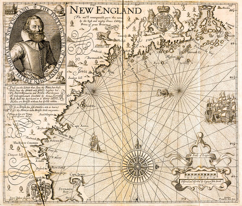 Captain John Smith's 1616 map of New England