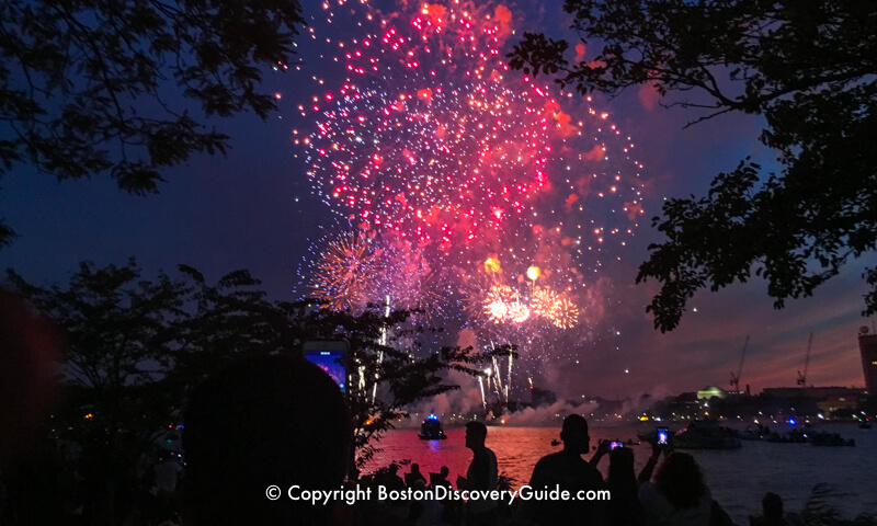 View from the Esplanade: Boston's July 4th fireworks over the Charles River