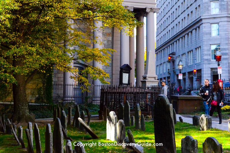 King's Chapel Burying Ground, with King's Chapel in the background