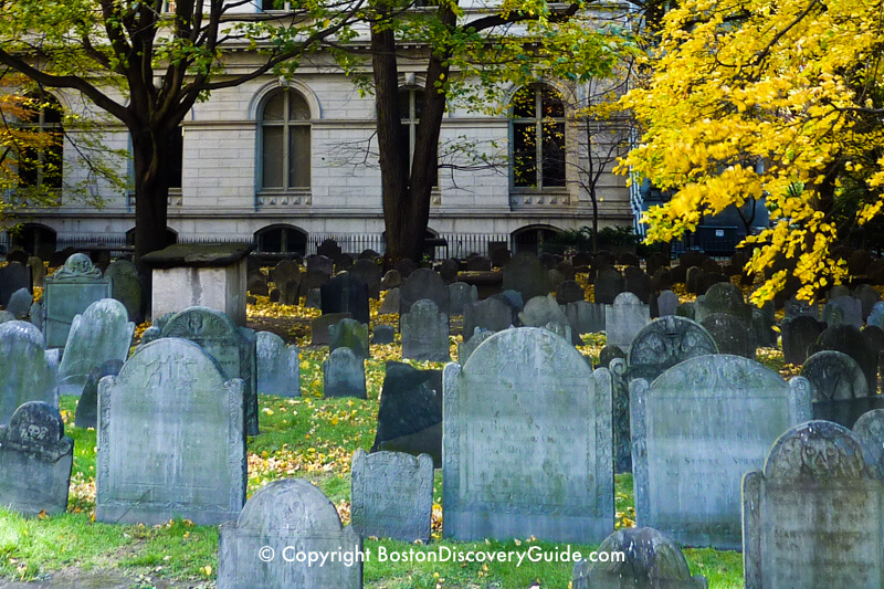 17th century grave markers in King's Chapel Burying Ground
