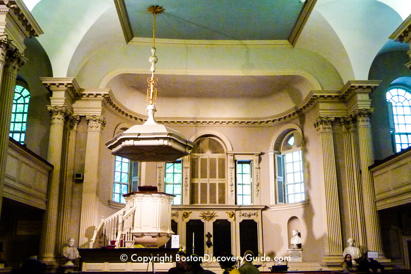 Inside King's Chapel on Boston's Freedom Trail